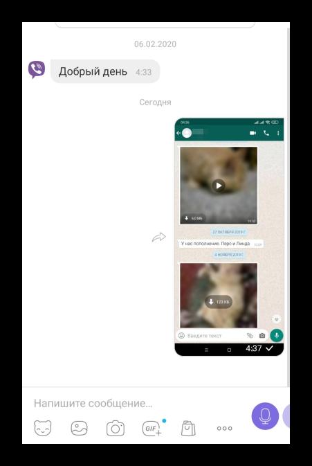 Пересылка скриншота в Viber